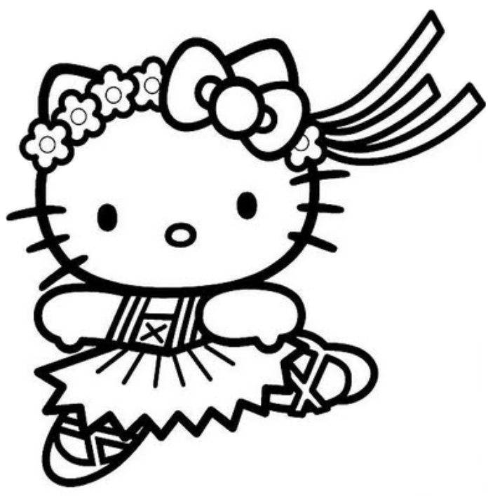 kleurplaten hello kitty ballerina